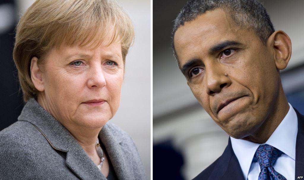 أوباما ومريكل يناقشان ازمة اللاجئين السوريين هاتفياً